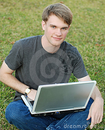 College Boy on a Laptop