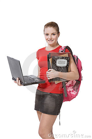 Free College Female Student Girl With Laptop, Backpack Stock Images - 9028084