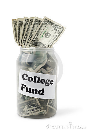 College Fund money bills in cash jar