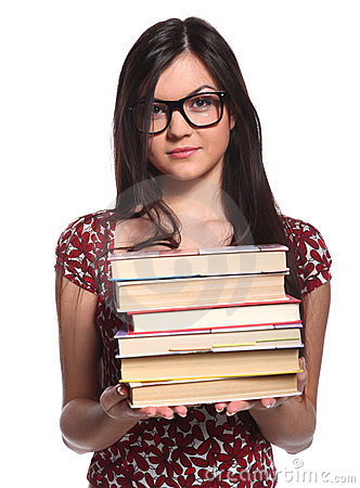 College girl with books