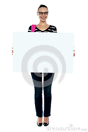 College girl holding white ad board