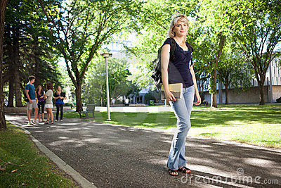 College Girl Walking to Class