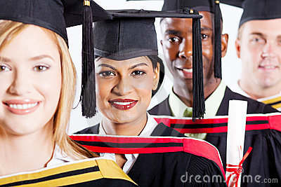 College graduates closeup