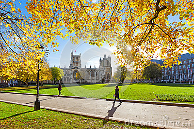 College Green and Bristol Cathedral Editorial Photo