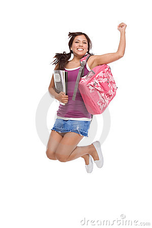 College Latina student teen with backpack jumping
