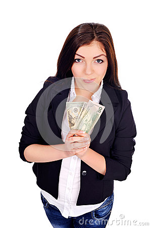 College pretty girl holds few cash in hands