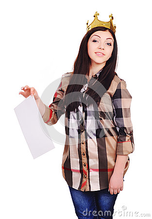 College pretty girl wearing a crown, holding a list of paper