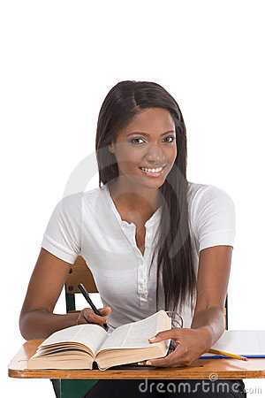 Free College Student African American Woman By Desk Stock Photography - 11602732