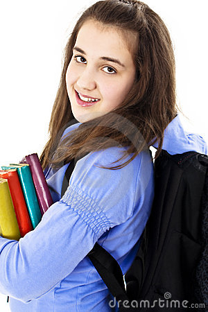 College student with backpack and books