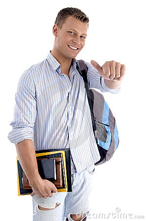 College student with books and backpack