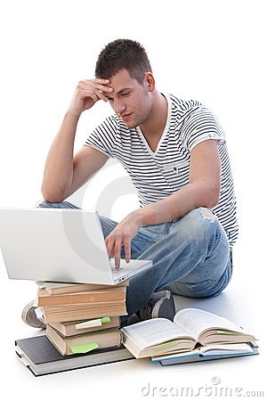 Free College Student Doing Homework On Laptop Stock Photos - 19506653