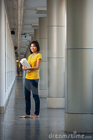 College Student Full Length Portrait Happy