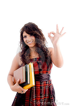 College student showing ok sign