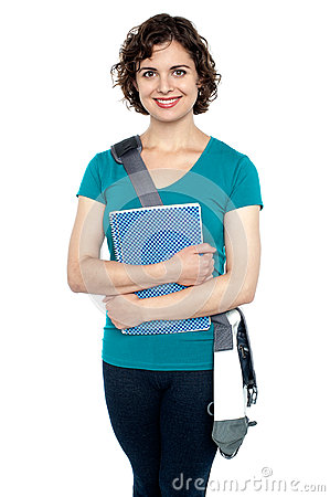 College student with stylish sling bag and notebook