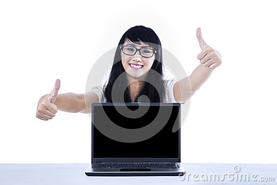 College student thumbs up with copyspace