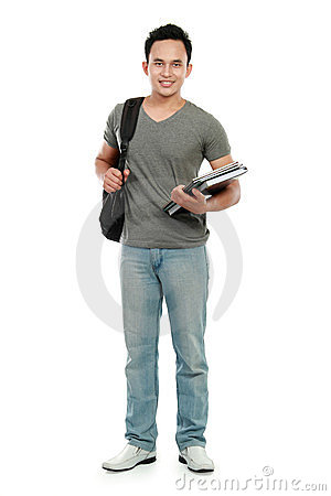 Free College Student With Book And Bag Stock Image - 23968321