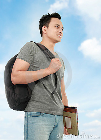 Free College Student With Book And Bag Royalty Free Stock Image - 23968326