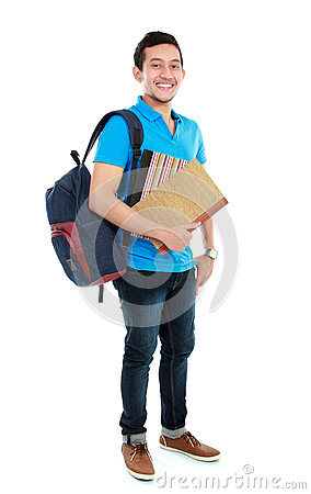 Free College Student With Book And Bag Royalty Free Stock Photos - 27465138