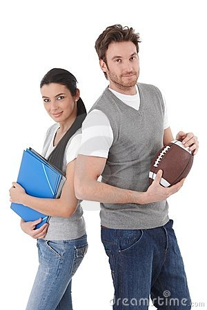College students with folders and rugby ball