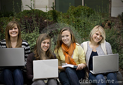 College students with Laptops