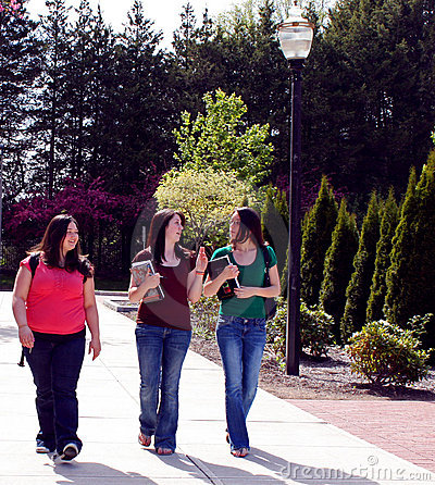 College students walking to school