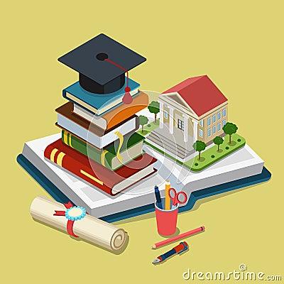 Free College University Education Graduation Flat 3d Web Isometric Stock Image - 51125821