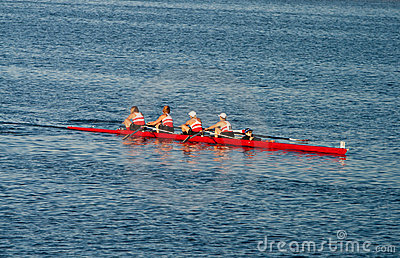 Collegiate Rowing Teams Practice On The Pacific Editorial Photo