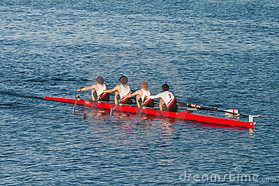 Collegiate Rowing Teams Practice On The Pacific Editorial Stock Image