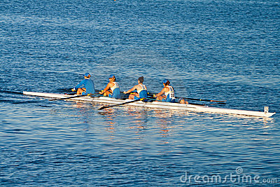 Colligiate Rowing Teams Practice On the Pacific Editorial Image