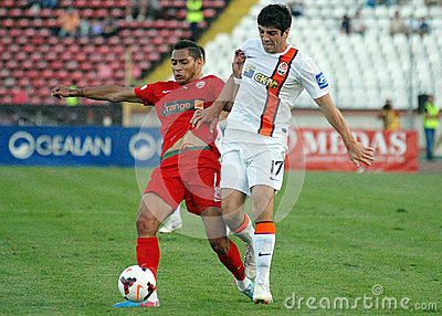 Collins Fai and Anton Shynder in Dinamo Bucharest-Shaktar Donetk Editorial Stock Photo