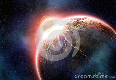Earth  collision. Fantasy world end. Elements of this image furn
