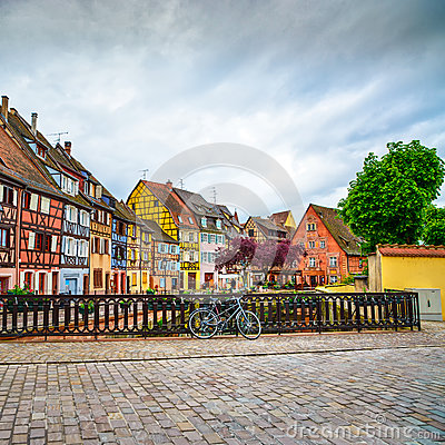 Free Colmar, Petit Venice, Bridge, Bike And Traditional Houses. Alsace, France. Royalty Free Stock Photography - 33928577