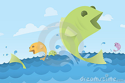 Coloful jumping fish in ocean water - illustration