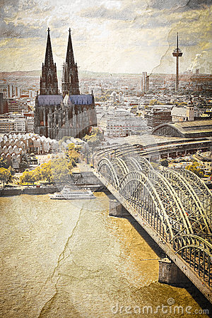 Cologne cityscape with Rhine river and famous cath
