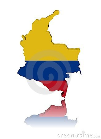 Colombia map flag with reflection