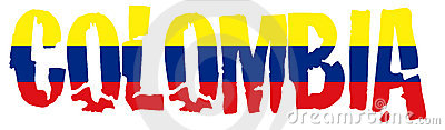 Colombia name with flag Vector Illustration