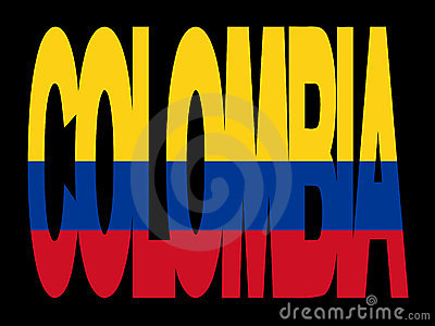Colombia text with flag