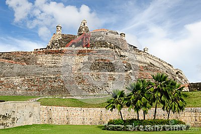 Colombia, View on the citadel in Cartagena