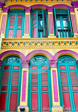 Free Colonial Architecture Style Shophouses In Singapore Chinatown Royalty Free Stock Photography - 103426197
