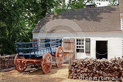 Colonial Building and Horsecart: Williamsburg, VA