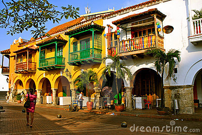 Colonial Buildings. Cartagena de Indias, Colombia Editorial Photography