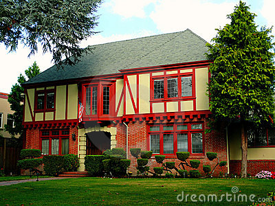 Colonial house with red beams