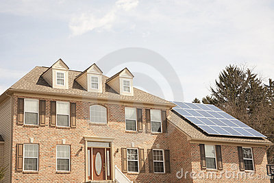 Colonial house with solar panel