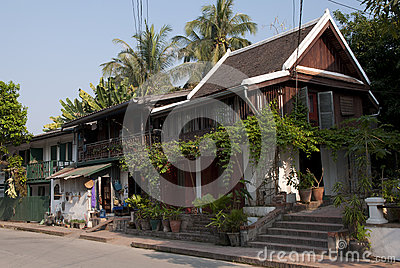 Colonial houses of merchants on the downtown street of Luang Prabang The world Heritage City. Editorial Photography
