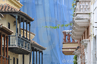 Colonial houses. Typical balconies,  Cartagena, Co