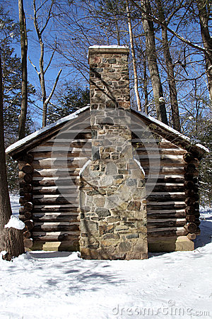 Colonial Log Cabin In Snow Stock Photo Image 44122700