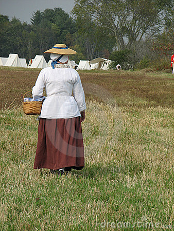 Colonial Woman with Basket