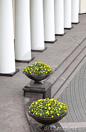 Colonnade and flower pots