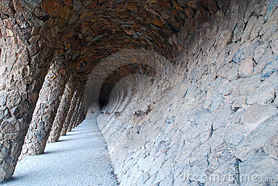 Colonnaded pathway at Gaudi s famous Park Guell