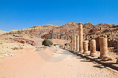 Colonnaded street in ancient city of Petra, Jordan
